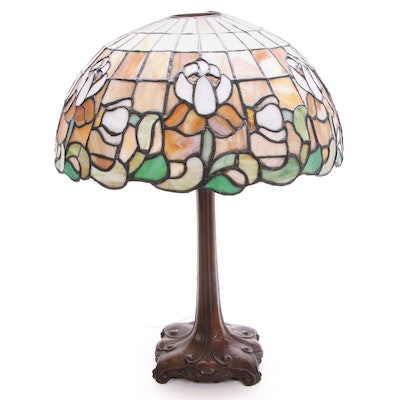 Art Nouveau Bronzed Metal Table Lamp with Iris Flower Slag Glass Shade