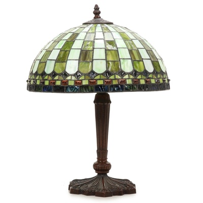 Late Art Nouveau Style Metal Table Lamp with Slag Glass Shade