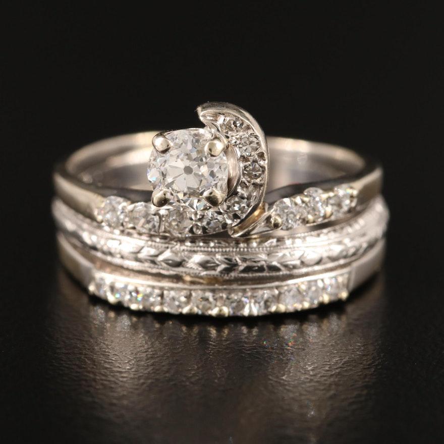 Platinum and 14K Diamond Ring