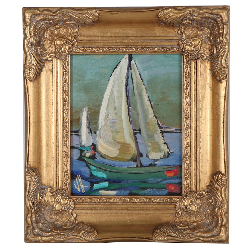 """William Hawkins Oil Painting of Sailboat """"Los Barcos,"""" 2021"""