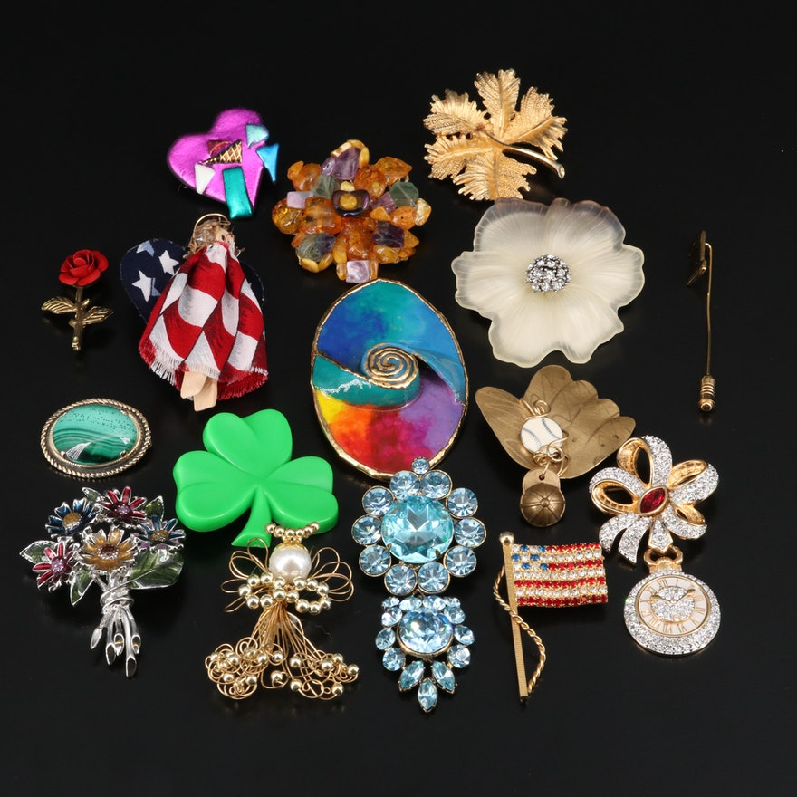Brooches Including Swarovski, Lacombe, Floral, and Holiday Themes