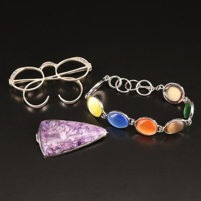 Jewelry Selection Featuring Charoite and Eyeglasses Brooches