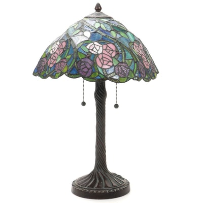 Art Nouveau Style Metal Table Lamp with Roses on Vines Slag Glass Shade