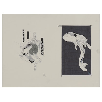 Gabriel Broady Diptych Style Ink and Marker Drawings of Koi, 2018