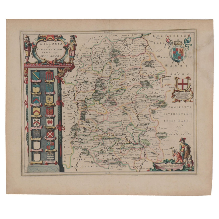 "Johannes Blaeu Hand-Colored Engraving Map ""Wiltonia Sive Comitatus Wiltoniensis"""