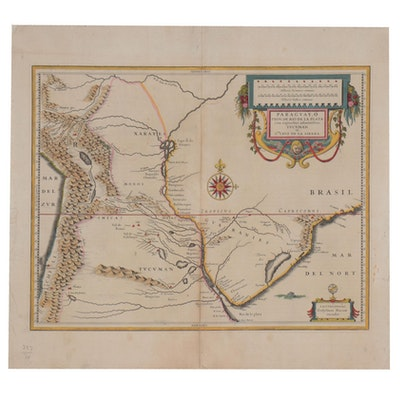 Willem Janszoon Blaeu Hand-Colored Engraving Map of Paraguay, circa 1640