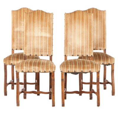Four Louis XIV Style Oak Upholstered Side Chairs