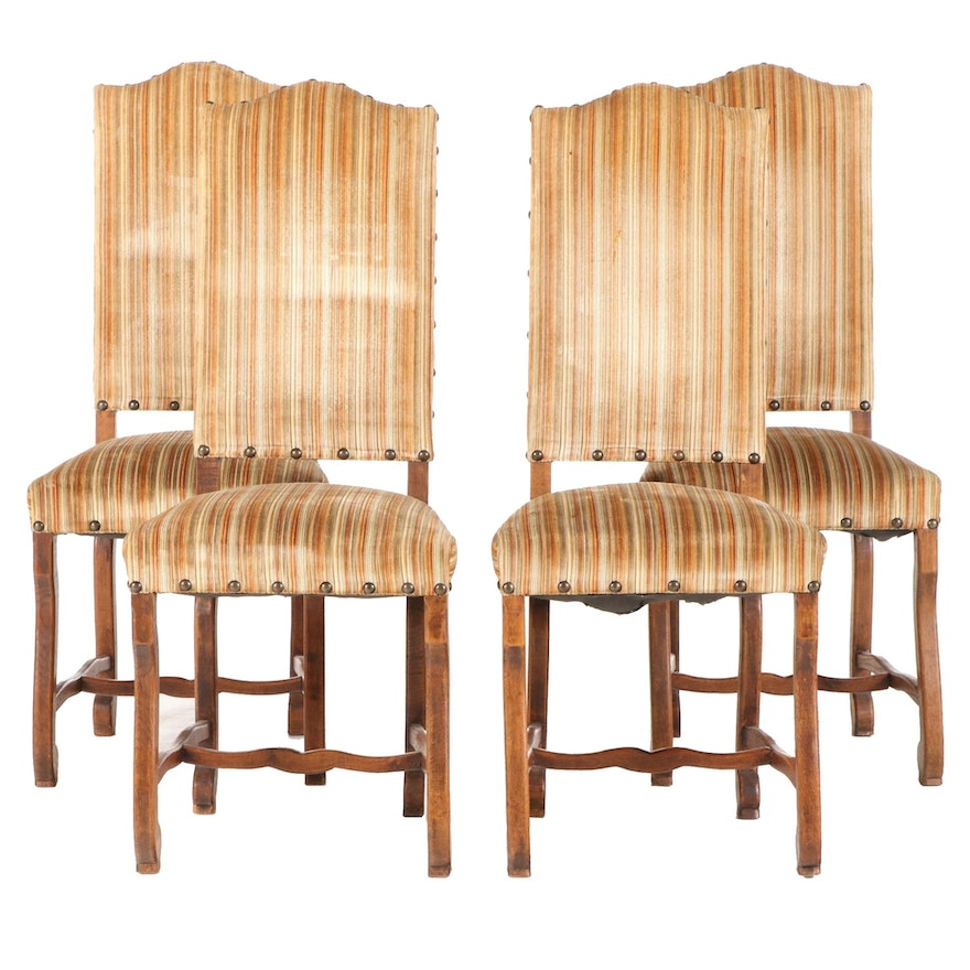 Four Louis XIII Style Oak Upholstered Side Chairs