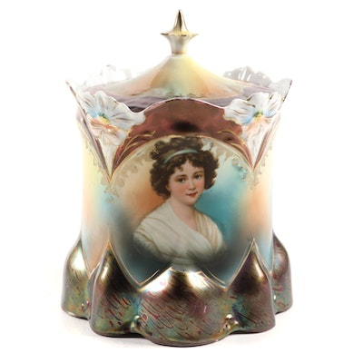 Continental Lustreware Portrait Porcelain Biscuit Jar, Late 19th/Early 20th C.