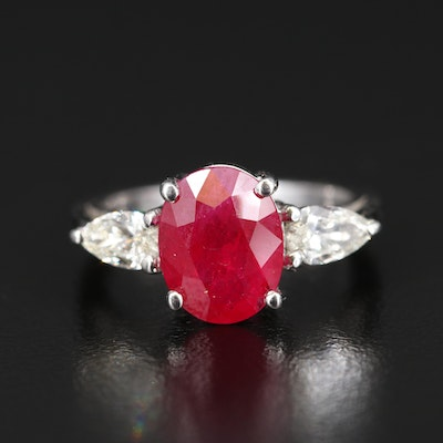 Platinum 3.17 CT Ruby and Diamond Ring with GIA Reports