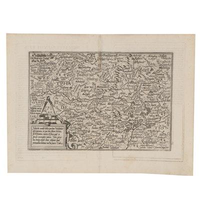 Matthias Quad Engraving Map of Western Germany