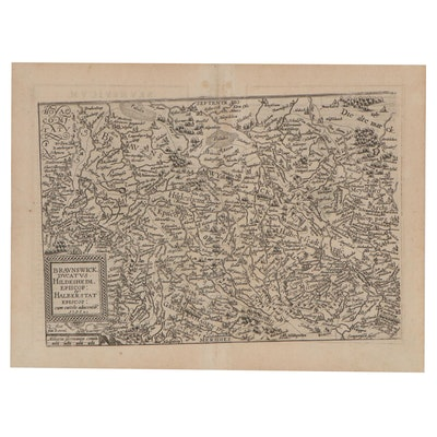 Matthias Quad Engraving Map of Central Germany, 1596