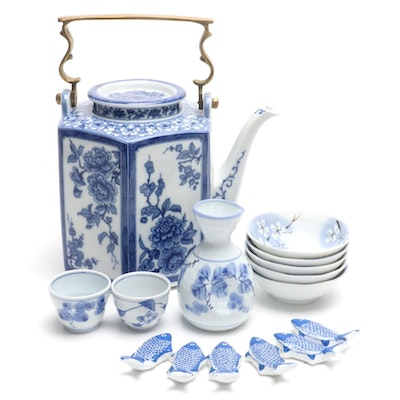 Kaiser Teapot and Other Blue and White Porcelain, Late 20th Century