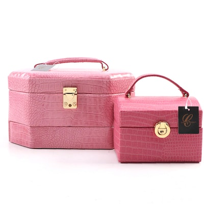 "Collectives ""Bella Collection"" Pink Croc Bonded Leather Jewelry Cases"