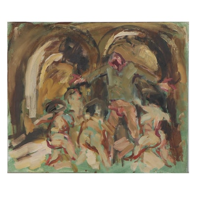 "Oil Painting Attributed to Mogens Hoff ""Orestes Tormented,"" Late 20th Century"