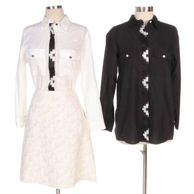 Rujuta Sheth Black and White Ikat Blouses with Halogen Pencil Skirt