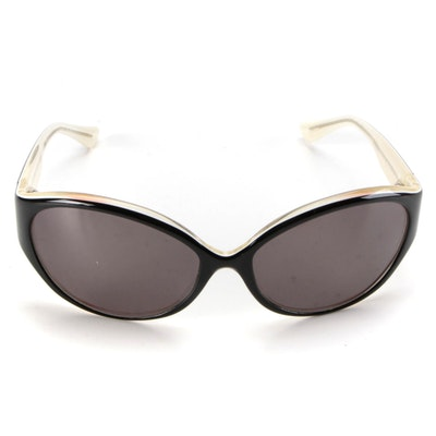 "Badgley Mischka ""Betty"" Black and Clear Oval Frame Sunglasses"