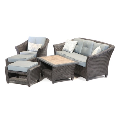 Contemporary Woven Synthetic 5-Piece Patio Seating Group