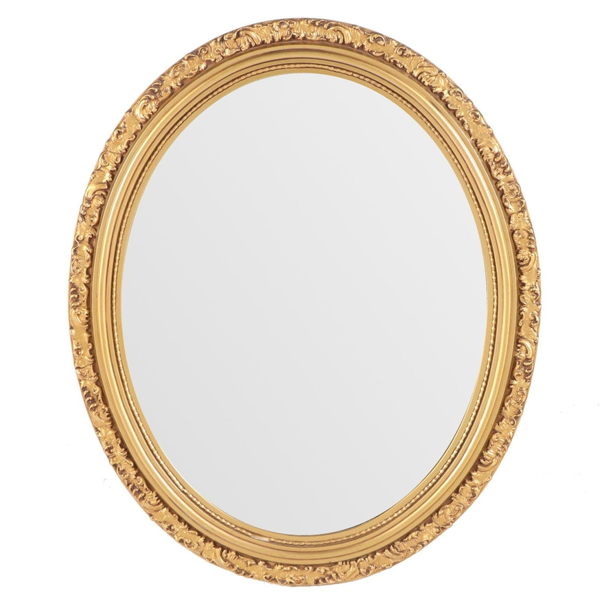 Oval Giltwood and Composition Wall Mirror, 20th Century