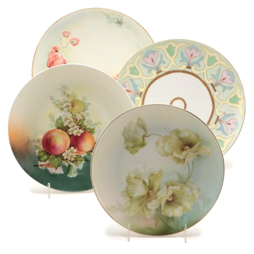 Haviland with Other Hand-Painted and Transfer Floral Porcelain Plates