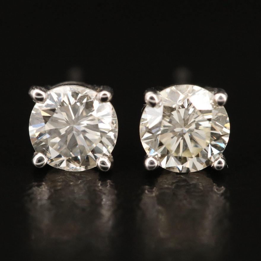 14K 1.06 CTW Diamond Solitaire Stud Earrings