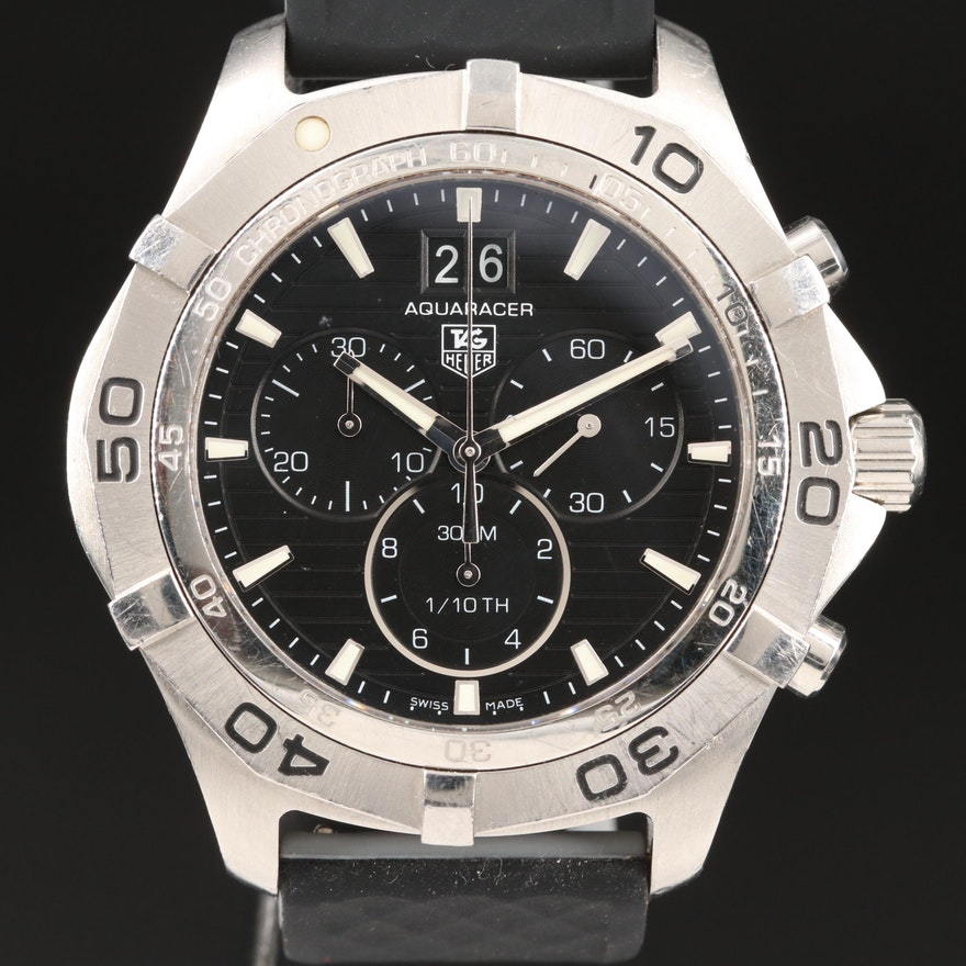 "TAG Heuer ""Aquaracer"" 300M Chronograph Stainless Steel Quartz Wristwatch"
