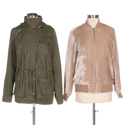 Madewell Velvet Bomber and Market & Spruce Chaplin Anorak Jacket