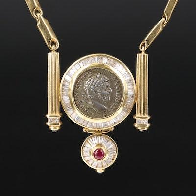 18K 2.90 CTW Diamond Necklace with Ancient Roman Imperial Denarius of Caracalla