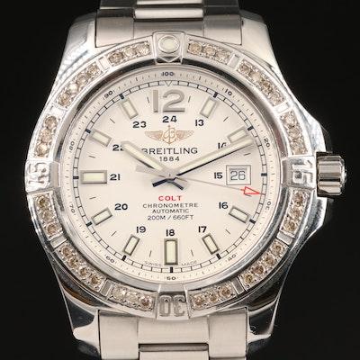 Breitling Colt 1.10 CTW Diamond Bezel Stainless Steel Automatic Wristwatch