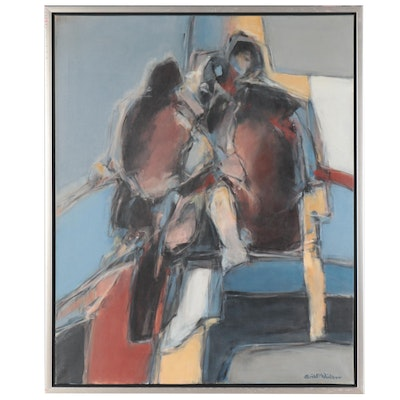 Erik P. Winther Abstract Figural Oil Painting, Late 20th Century
