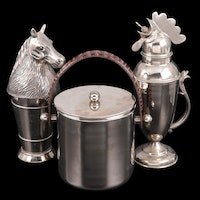 Andrea by Sadek Ice Bucket with Other Rooster and Horse Head Cocktail Shakers