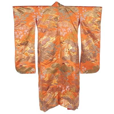 Scenic Floral Maple and Blossom Orange Metallic Brocade Uchikake