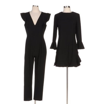 Black Halo Jumpsuit and Jill Jill Stuart Dress with Ruffled Sleeves