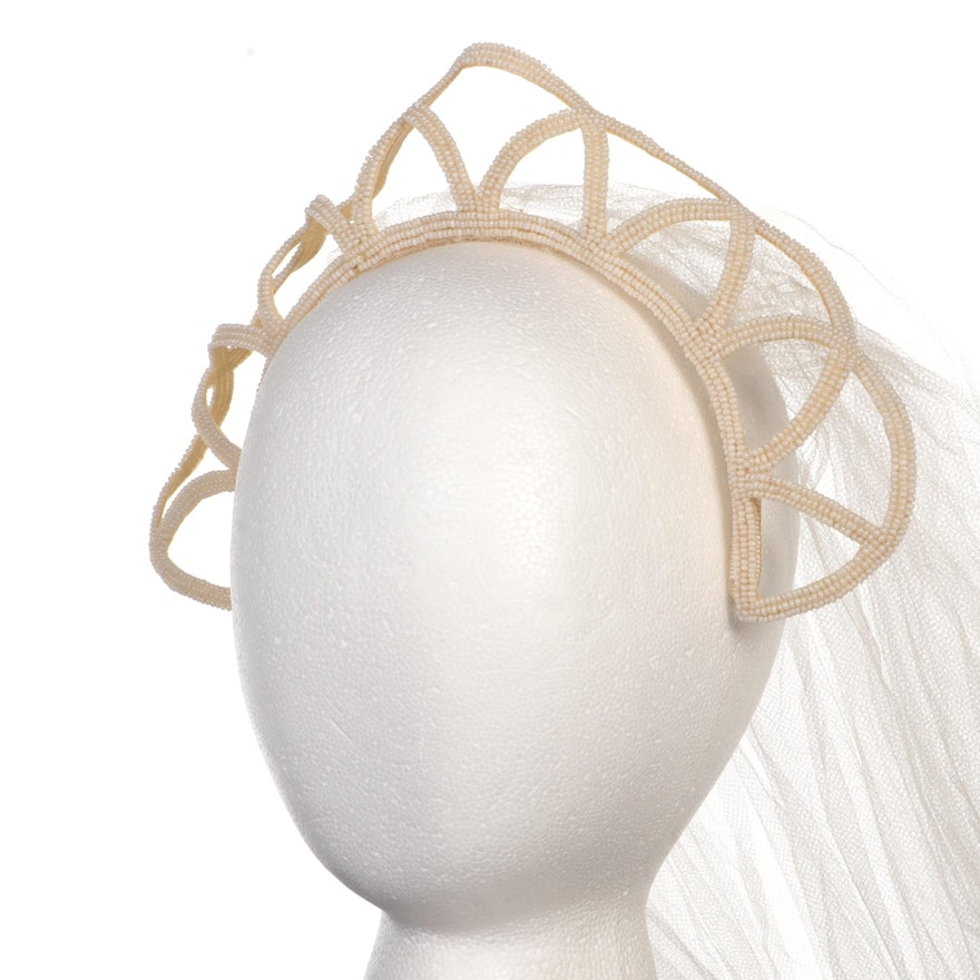 Tulle Wedding Veil with Imitation Pearl Microbeaded Headband