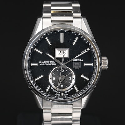 "TAG Heuer ""Carrera Calibre 8"" Stainless Steel Wristwatch"