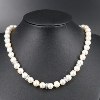14K Pearl and 1.00 CTW Diamond Station Strand Necklace