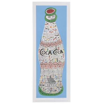 "Howard Finster Offset Lithograph ""Coke Bottle,"" 1989"