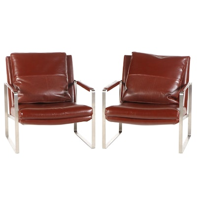 Pair of Camerich Modern Leather Upholstered Chrome Frame Armchairs
