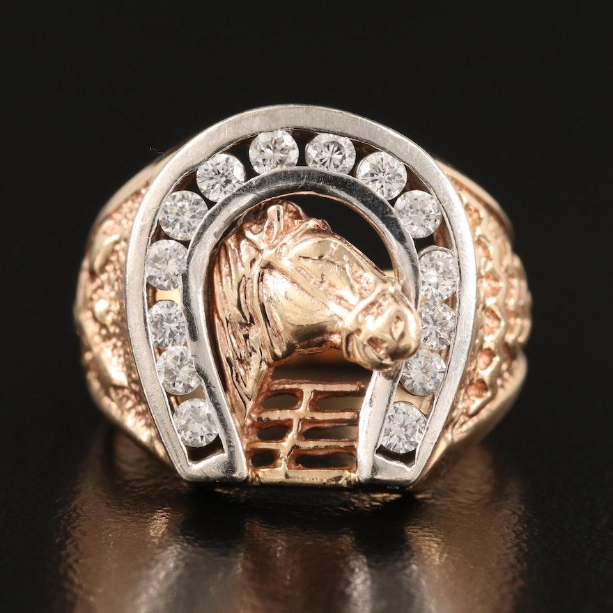 10K Diamond Horseshoe Ring