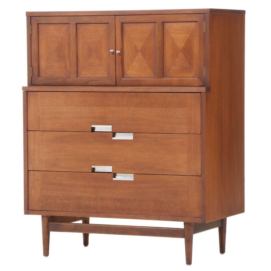 Merton Gershun for American of Martinsville Mid Century Modern Walnut High Chest