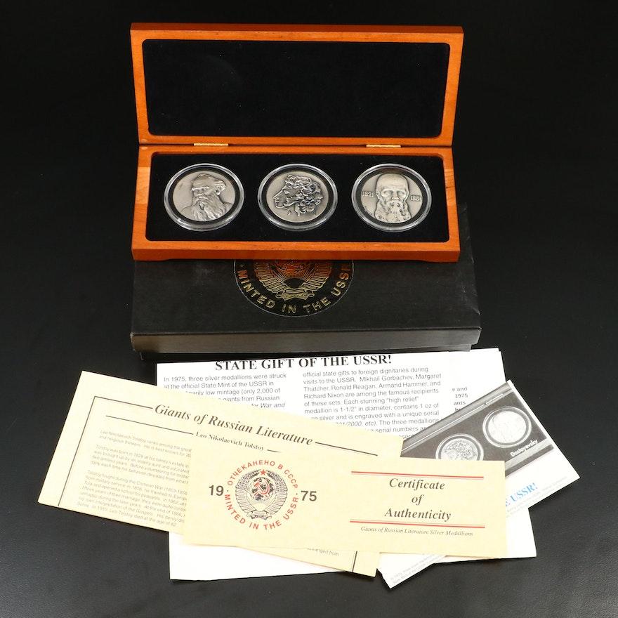 """Giants of Russian Literature"" Fine Silver 3-Medal Commemorative Set"