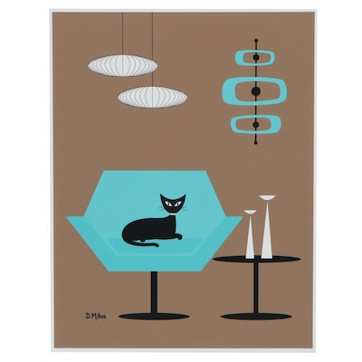 "Donna Mibus Giclée ""Black Cat in Aqua Mid Century Modern Chair,"" 21st Century"