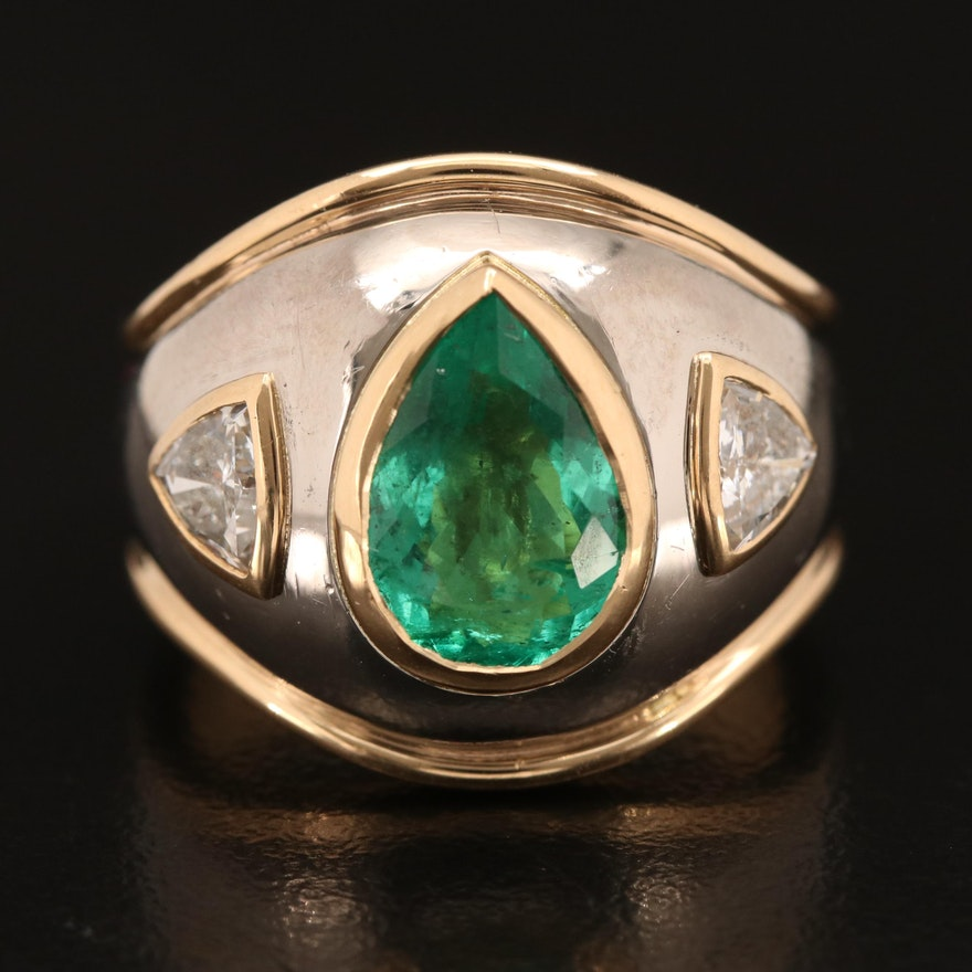 18K Bezel Set Emerald and Diamond Ring