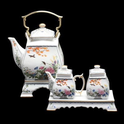 """Naoko Nobata for Franklin Mint """"Birds and Flowers of the Orient"""" Tea Set, 1989"""
