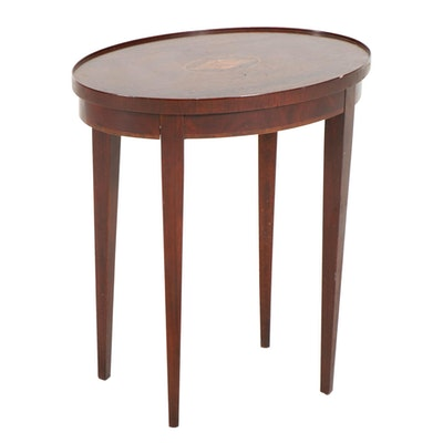 Baker Federal Style Mahogany End Table with Marquetry Conch Shell Motif