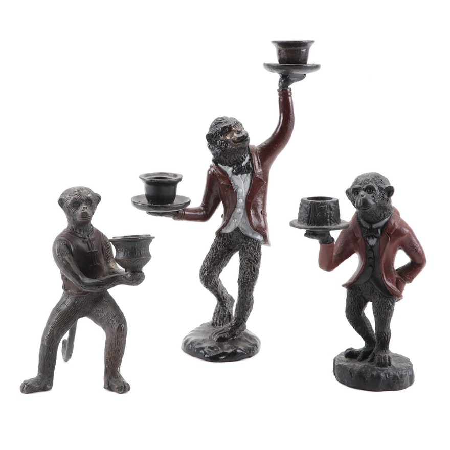 Bronze Patinated Metal Chimpanzee Butler Candle Holders