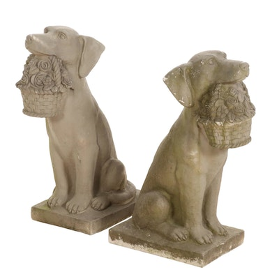 Pair of Resin Dogs with Flower Baskets Lawn Ornaments, Contemporary