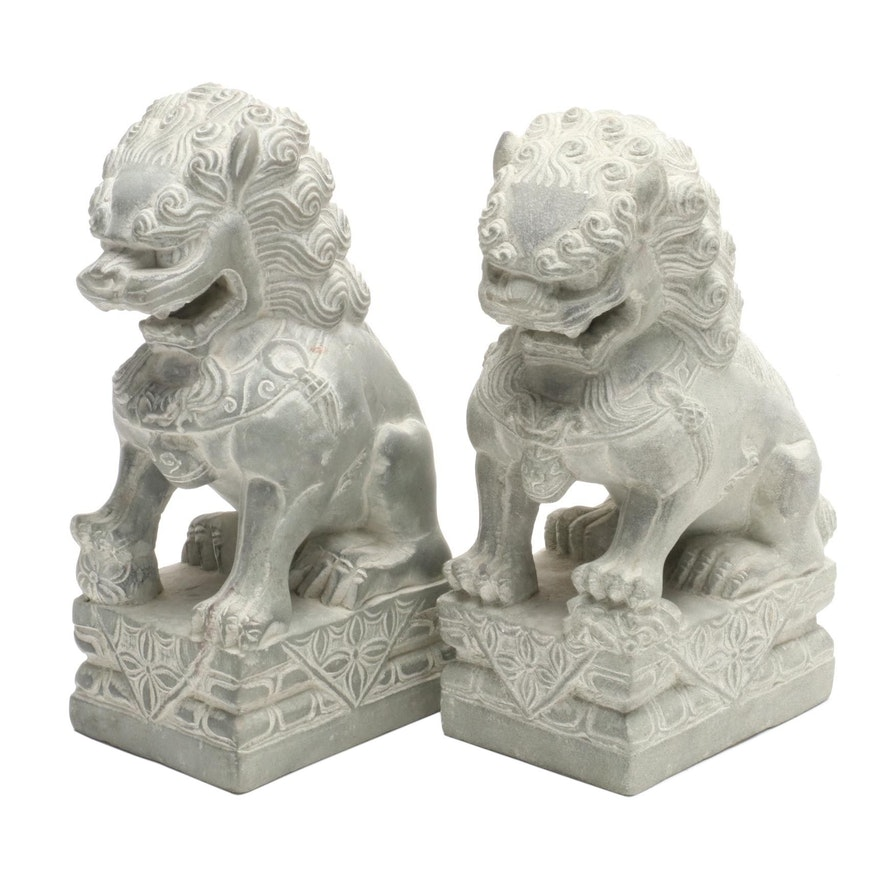Stone Guardian Lion Bookends, Late 20th Century