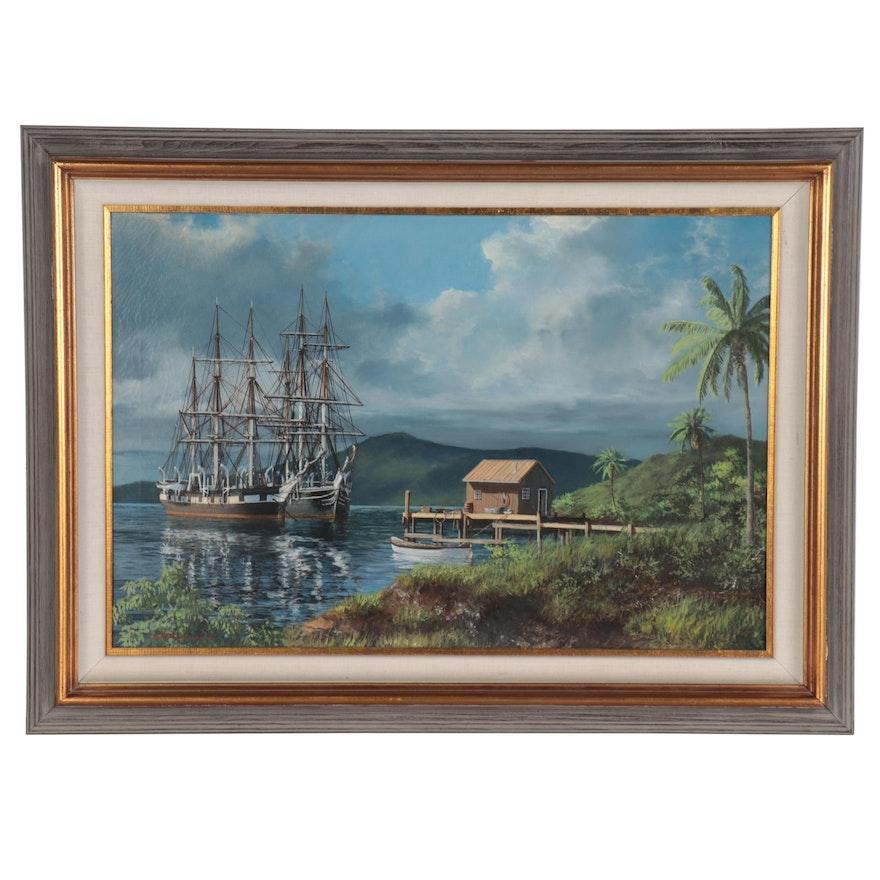 "David Thimgan Hawaiian Oil Painting ""Whalers at Maui,"" Late 20th Century"