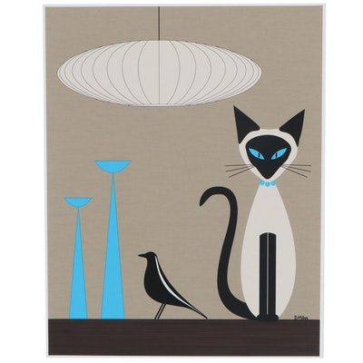 "Donna Mibus Giclée ""Mid Century Siamese Cat with Eames House Bird"""